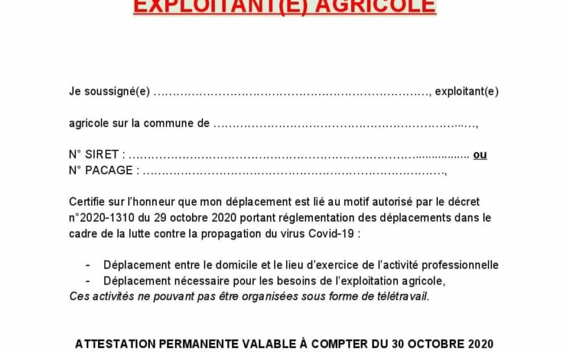 Attestation Permanente Exploitant Agricole